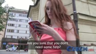 Hot Redhead Czech Girl fuck Stranger in Car park
