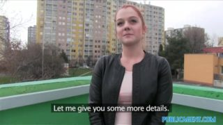 Redhead Czech girl shaved pussy fucked in Car Public Agent Porn