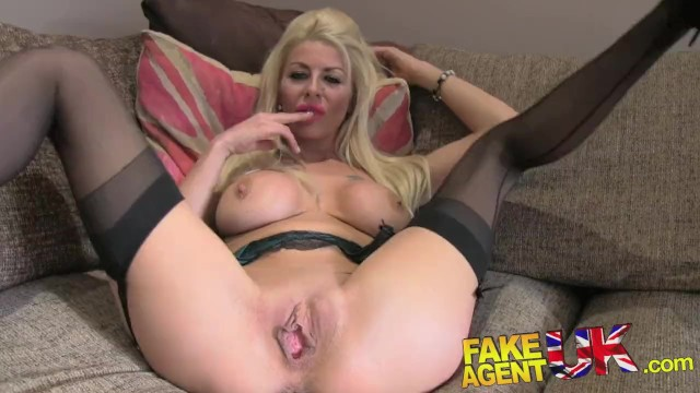 Hot Blonde British Milf fucked at Fake Agent Couch POV